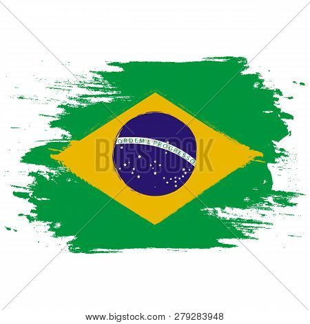 Brazil Flag. Brush Painted Brazil Flag. Hand Drawn Style Illustration With A Grunge Effect And Water
