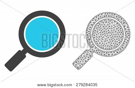 Polygonal Mesh Search Loupe And Flat Icon Are Isolated On A White Background. Abstract Black Mesh Li