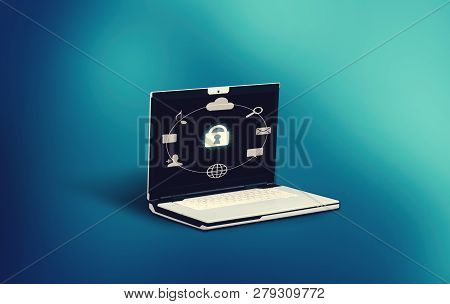 Laptop With A Menu And A Lock On Screen.