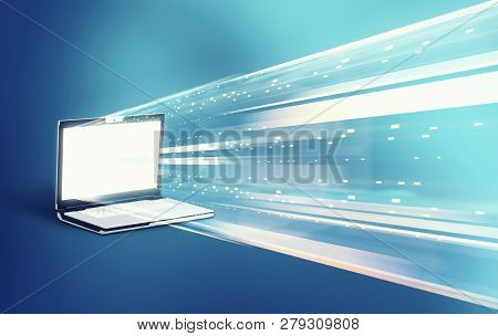 Data Transfering To A Laptop. Conceptual Image