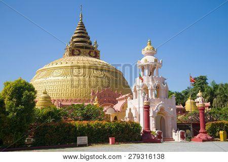 Mandalay, Myanmar - December 20, 2016: Giant Stupas Of The International Academy Of Buddhism