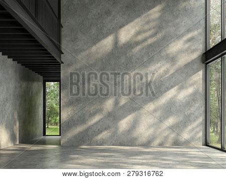 Loft Space Empty Room With Nature View 3d Render,there Are Polished Concrete Floor And Wall,black St