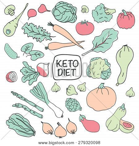 Ketogenic Diet Vector Sketch Banner Illustration. Healthy Keto Food With Decorative Elements - Radis