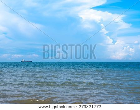 The Big Ship Still Floating Far Away From The Coast