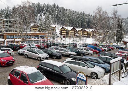 Ruzomberok, Slovakia - January 10: Full Car Park At Winter Resort Hrabovo - Malino Brdo On January 1