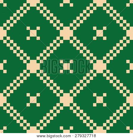 Vector Geometric Traditional Folk Ornament. Christmas Holiday Themed Seamless Pattern. Background Wi