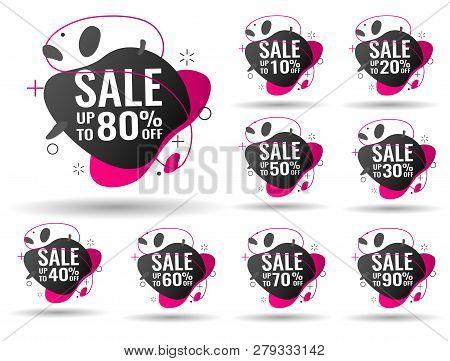 Sale Tags Set Vector Badges Template, 10 Off, 20 , 90, 80, 30, 40, 50, 60, 70 Percent Sale Label Sym