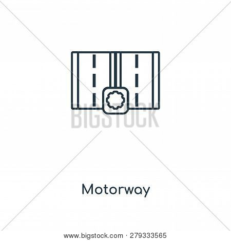 Motorway Icon In Trendy Design Style. Motorway Icon Isolated On White Background. Motorway Vector Ic
