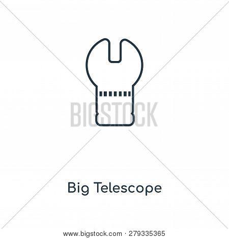Big Telescope Icon In Trendy Design Style. Big Telescope Icon Isolated On White Background. Big Tele