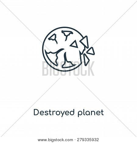 Destroyed Planet Icon In Trendy Design Style. Destroyed Planet Icon Isolated On White Background. De