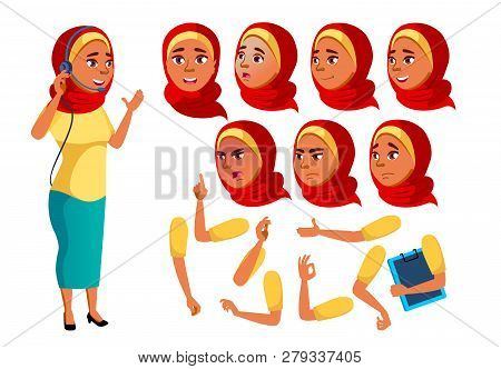 Arab, Muslim Teen Girl Vector. Teenager. Funny. Online Consultant. Worker. Face Emotions, Various Ge
