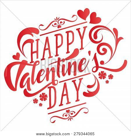 Lettering Happy Valentines Day . Valentines Day Greeting Card Template With Typography Text Happy Va