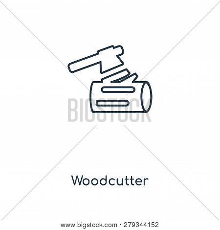 Woodcutter Icon In Trendy Design Style. Woodcutter Icon Isolated On White Background. Woodcutter Vec