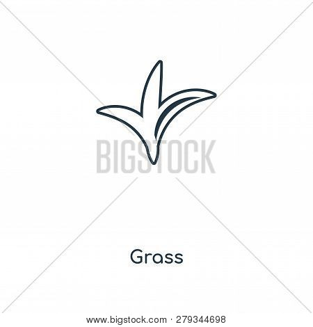 Grass Icon In Trendy Design Style. Grass Icon Isolated On White Background. Grass Vector Icon Simple