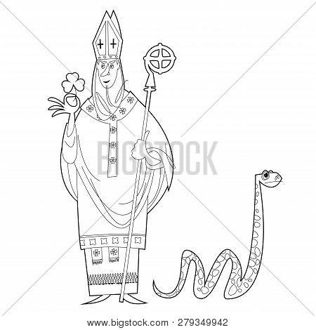 St Patrick (apostle Of Ireland ) Banishes Snakes From Ireland. The Patron Saint Of Ireland. Black An