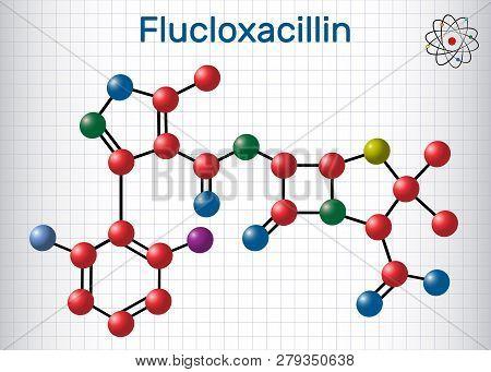 Flucloxacillin (floxacillin) Molecule. It Is Beta-lactam Antibiotic Of The Penicillin Class. Structu