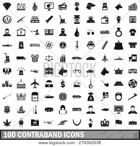 100 Contraband Icons Set In Simple Style For Any Design Illustration