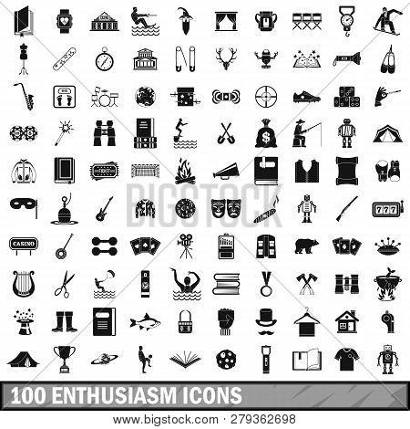 100 enthusiasm icons set in simple style for any design illustration poster