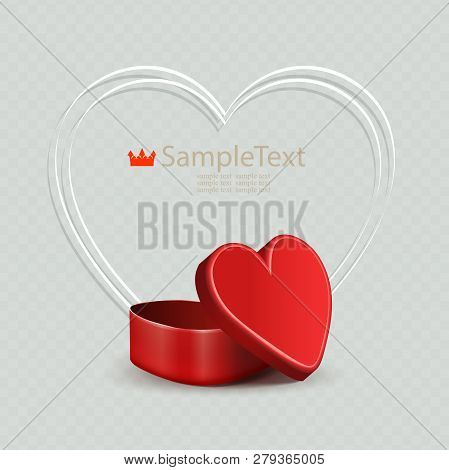 Composition With A Red Casket And A White Thin Silhouette Of The Heart.