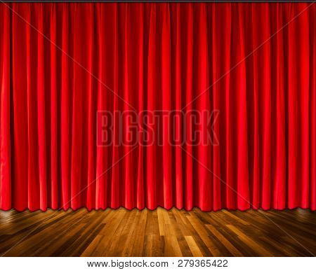 Background With Red Curtain And Wooden Floor Interior Background, Interior Template For Product Disp