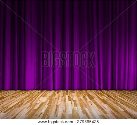 Background With Purple Curtain And Wooden Floor Interior Background, Interior Template For Product D