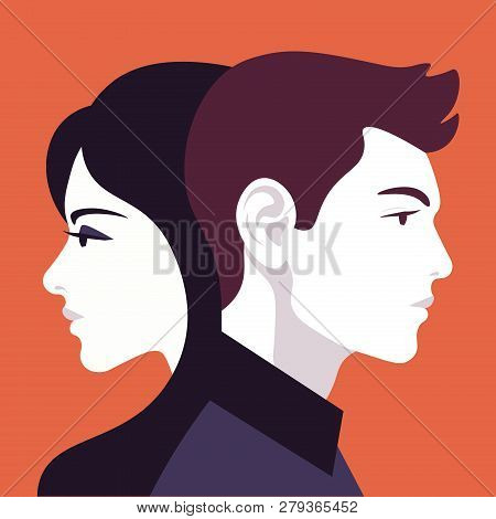 Woman And Man In Profile. Family Relationships And Gender Conflict. Psychology. Husband And Wife. Ve