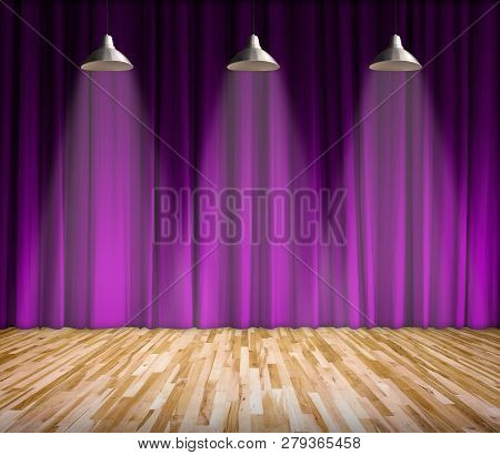 Lamp with lighting on stage. Lamp with purple curtain and wooden floor interior background. Interior