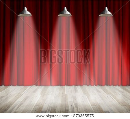 Background. Lamp With Lighting On Stage. Lamp With Red Curtain And Wooden Floor Interior Background.