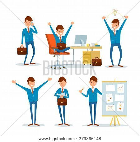 Man Businessman Characters In Office, Ceo At Work Vector. Director By Table With Computer, Chief Exe