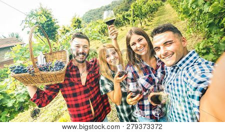 Young Friends Having Fun Taking Selfie At Winery Vineyard Outdoor - Friendship Concept On Happy Peop