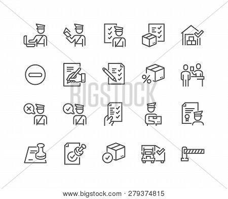 Simple Set Of Customs Related Vector Line Icons. Contains Such Icons As Declaration, Passport Contro