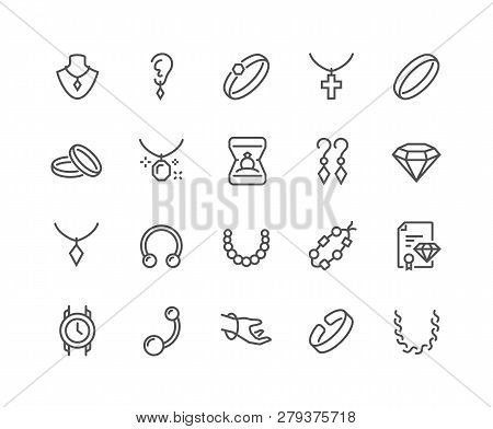 Simple Set Of Jewelry Related Vector Line Icons. Contains Such Icons As Earrings, Body Cross, Engage