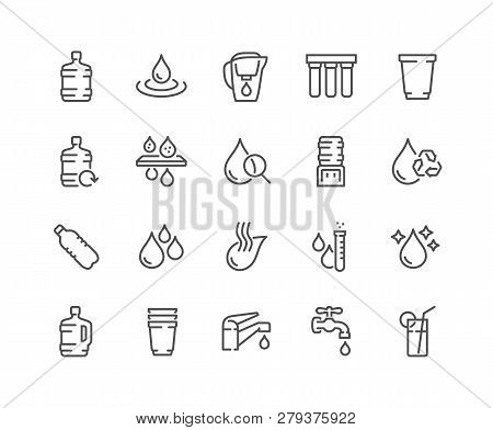 Simple Set Of Water Related Vector Line Icons. Contains Such Icons As Filter, Moister, Water Tap And