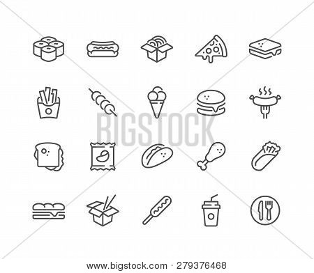 Simple Set Of Fast Food Related Vector Line Icons. Contains Such Icons As Pizza, Tacos, Chips And Mo