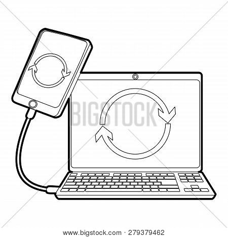 Gadgets Synchronized Operation Icon. Outline Illustration Of Gadgets Synchronized Operation Icon For