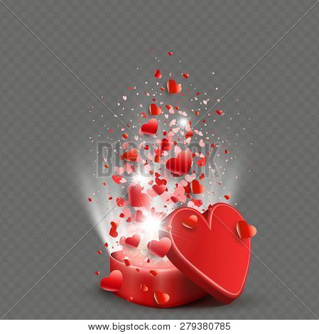 Composition With A Casket Of Red Color, Set Of Hearts And Rays Of Light.