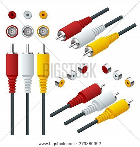 Isometric Set Of Audio Video Cable Input Connections. Rca Cable View Straight And Isometric.