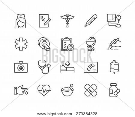 Simple Set Of Medical Related Vector Line Icons. Contains Such Icons As Mri, Prescription, Surgery A