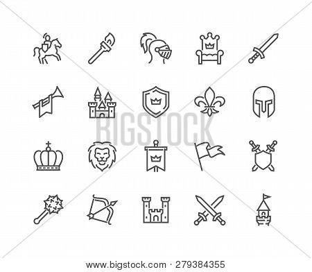 Simple Set Of Medieval Related Vector Line Icons. Contains Such Icons As Knight, Castle, Crown And M