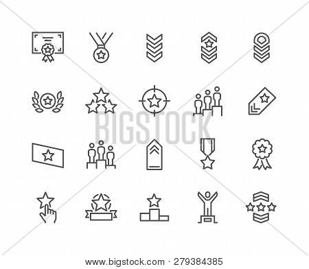 Simple Set Of Ranking Related Vector Line Icons. Contains Such Icons As Star Rating, First Place, Sh