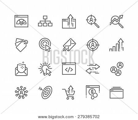 Simple Set Of Seo Related Vector Line Icons. Contains Such Icons As Increase Sales, Traffic Manageme