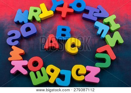 Colorful ABC Letters of Alphabet made of wood poster