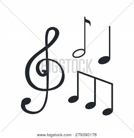 Music Notes, Sketches Isolated Icons Closeup, Melody Design Vector. Sounds In Visual Representation,