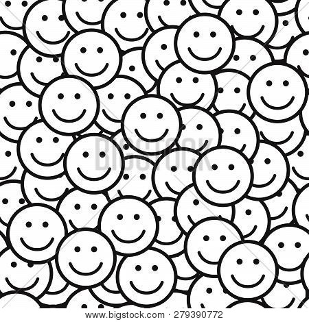 Seamless Black And White Pattern With Smile Icons. Happy Faces Background. Vector Illustration.