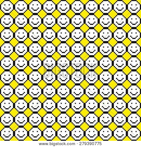 Seamless Pattern With Smile Icons. Happy Faces Background. Pixel Art. Vector Illustration.