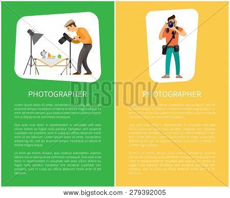 Photographer Of Still Life And Photojournalist Online Banners. Fruits Near Teapot Under Spotlight, M