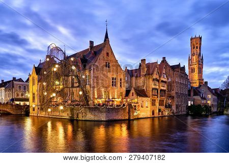 Rozenhoedkaai Is In Brugge The Most Visited And Photographed Place. The Channel Is Wider Here And Of
