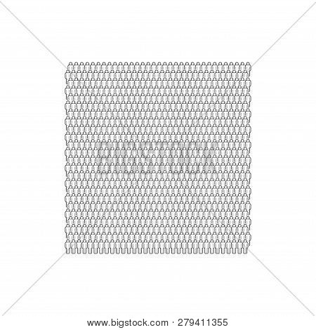 Large Group Of People. Monochrome Vector People Crowd Made Of Simple Line Icons.