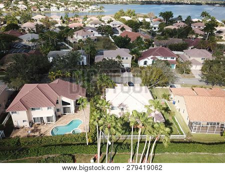 Middle Class Suburban Residential Neighborhood In Florida Aerial View