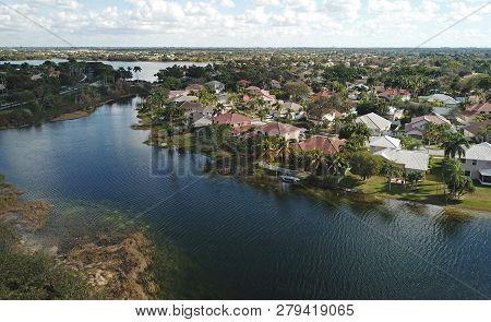 Waterfront Residential Neighborhood In Florida Aerial View